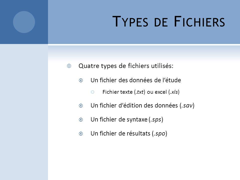 Types de Fichiers Quatre types de fichiers utilisés: