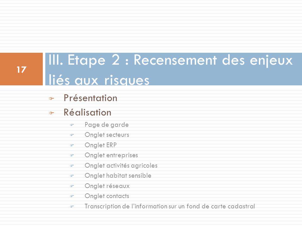 III. Etape 2 : Recensement des enjeux liés aux risques
