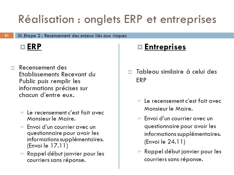 Réalisation : onglets ERP et entreprises