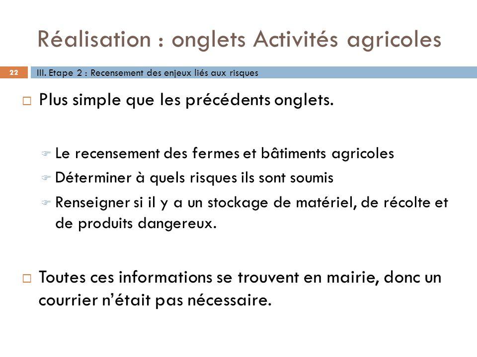 Réalisation : onglets Activités agricoles