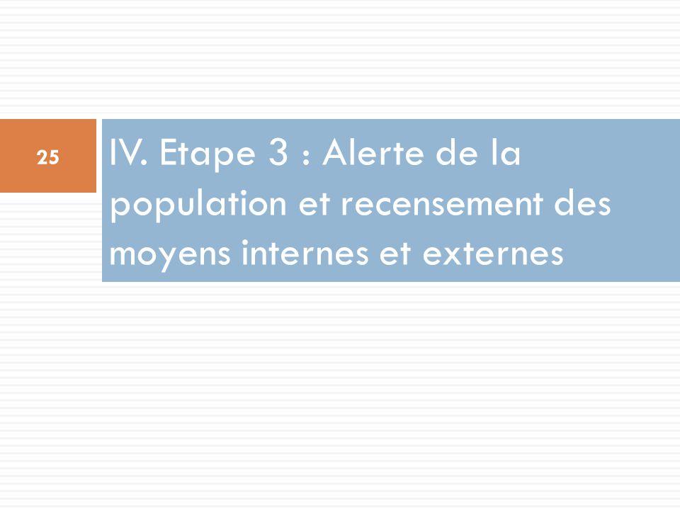 IV. Etape 3 : Alerte de la population et recensement des moyens internes et externes
