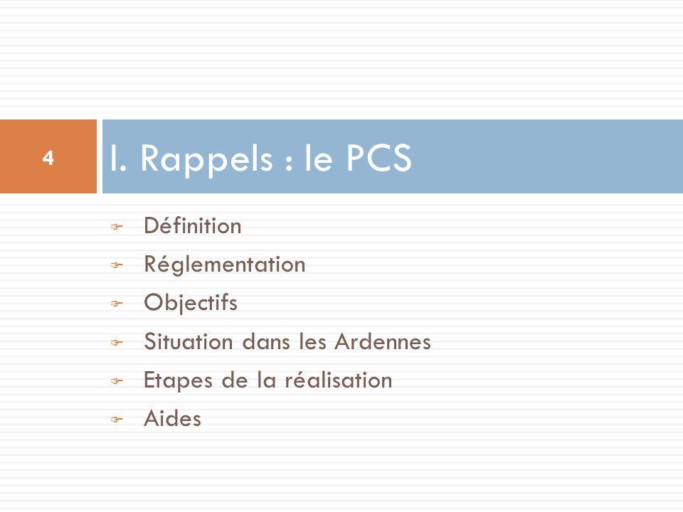 I. Rappels : le PCS Définition Réglementation Objectifs