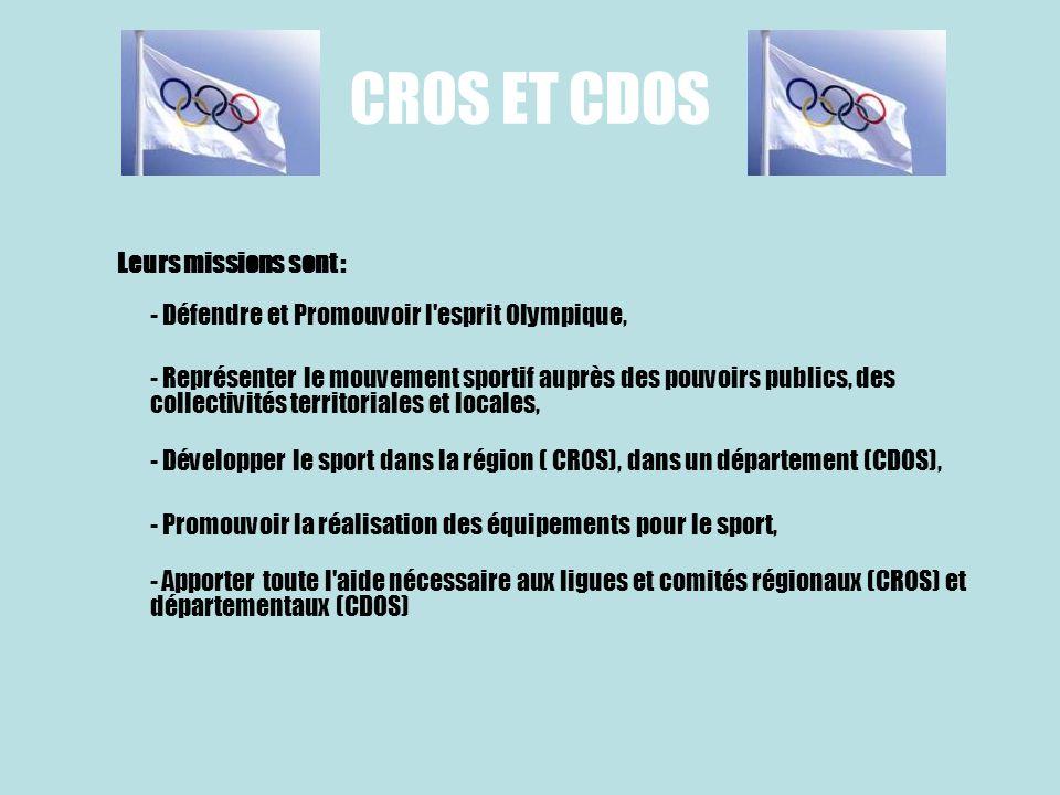 CROS ET CDOSLeurs missions sont : - Défendre et Promouvoir l esprit Olympique,