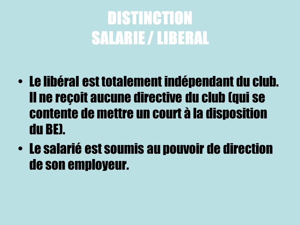 DISTINCTION SALARIE / LIBERAL