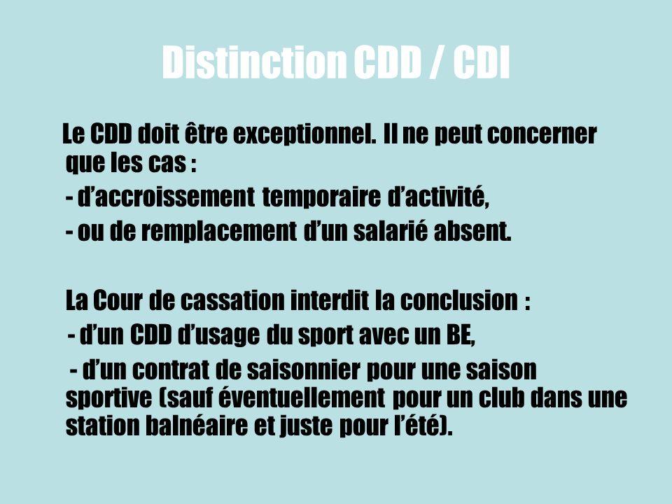 Distinction CDD / CDI Le CDD doit être exceptionnel. Il ne peut concerner que les cas : - d'accroissement temporaire d'activité,