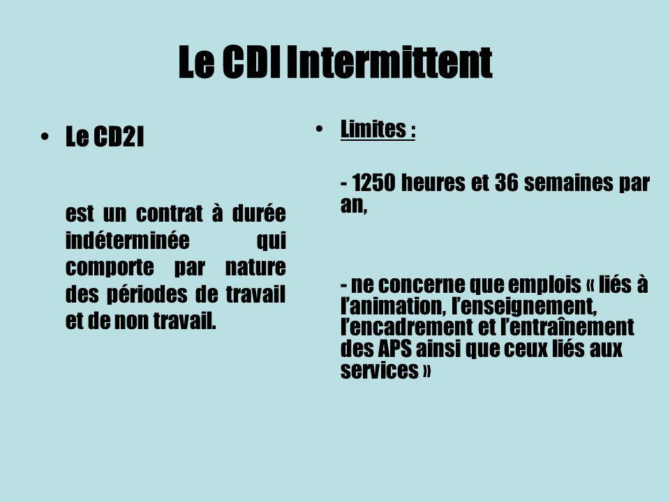 Le CDI Intermittent Le CD2I