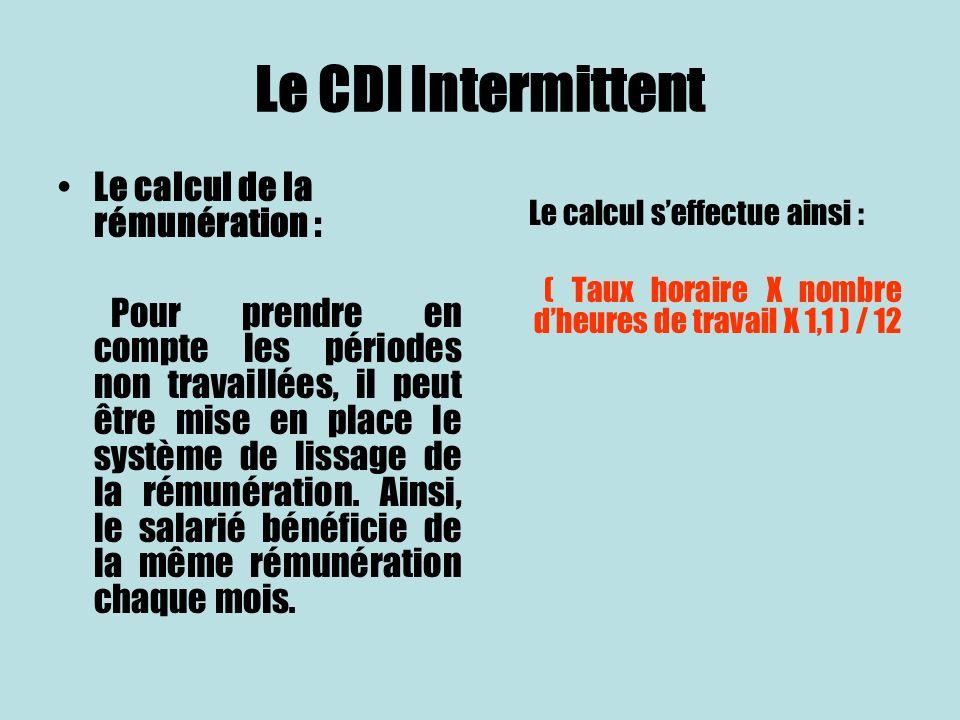 Le CDI Intermittent Le calcul de la rémunération :