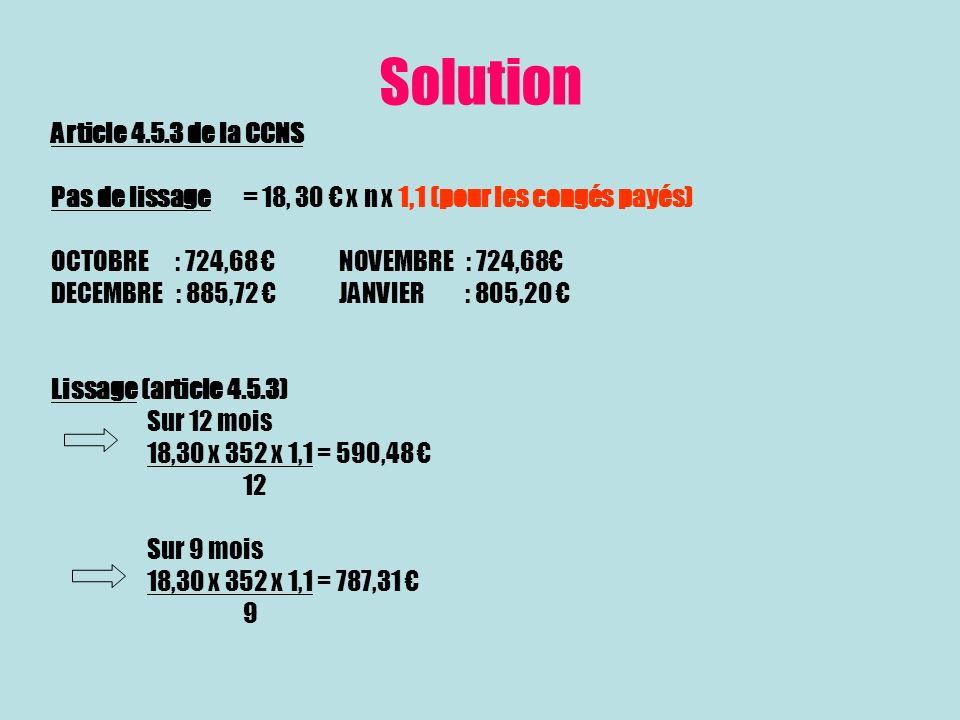 Solution Article 4.5.3 de la CCNS