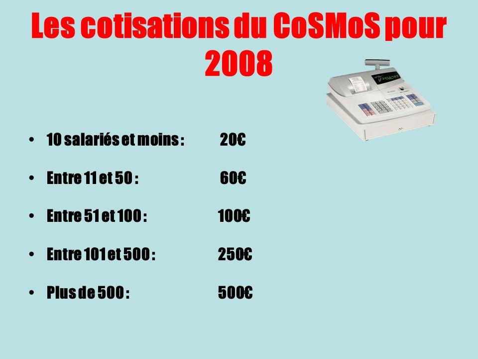 Les cotisations du CoSMoS pour 2008