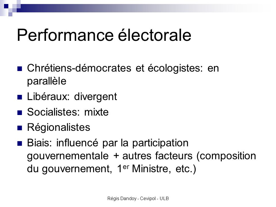 Performance électorale