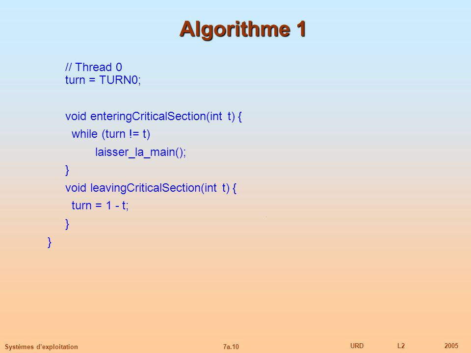 Algorithme 1 // Thread 0 turn = TURN0;