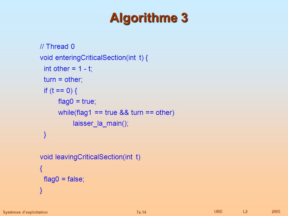 Algorithme 3 // Thread 0 void leavingCriticalSection(int t)