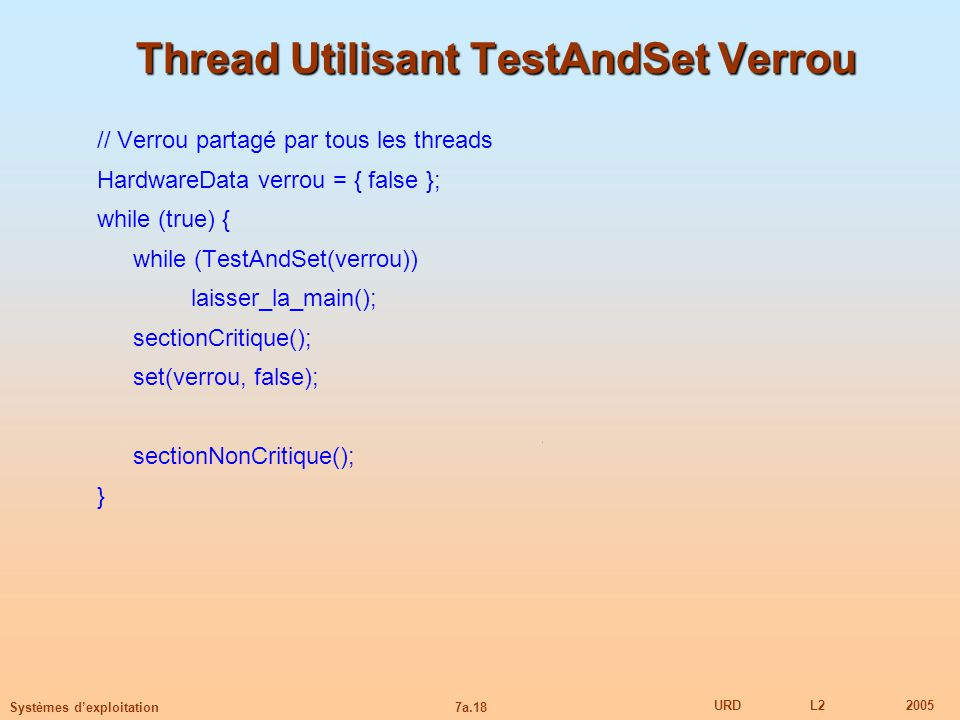 Thread Utilisant TestAndSet Verrou