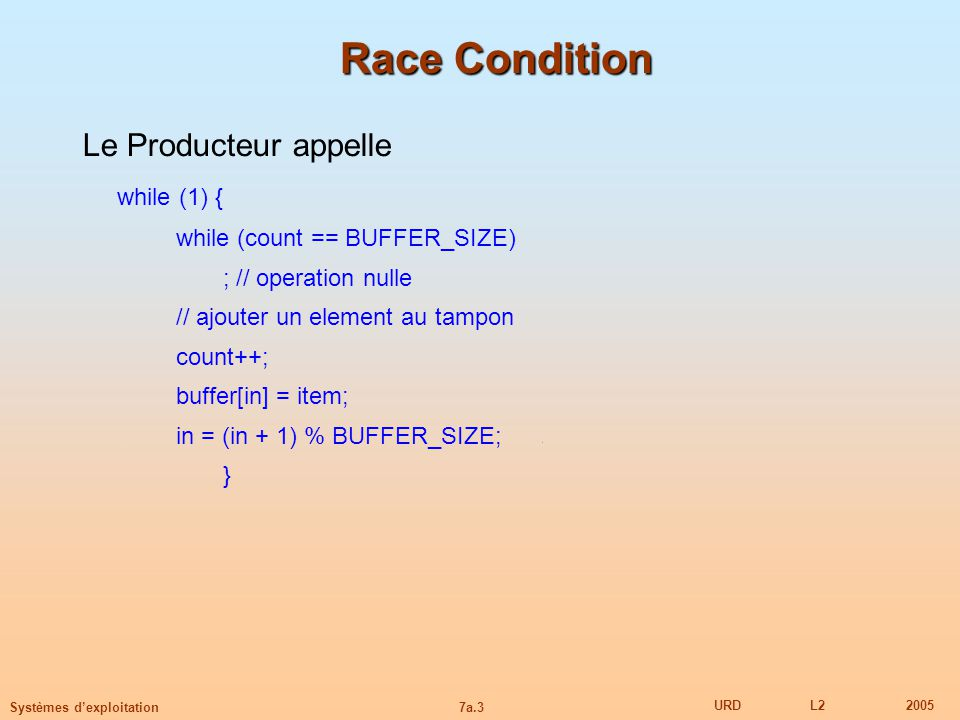 Race Condition Le Producteur appelle while (1) {