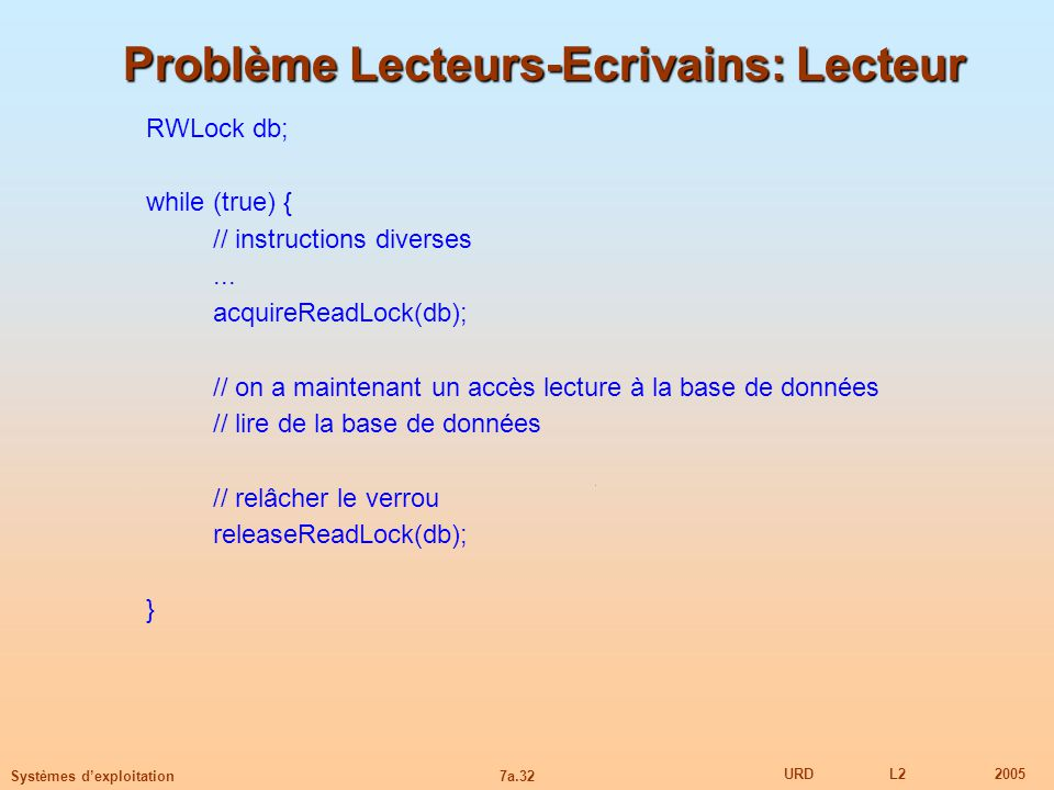 Problème Lecteurs-Ecrivains: Lecteur