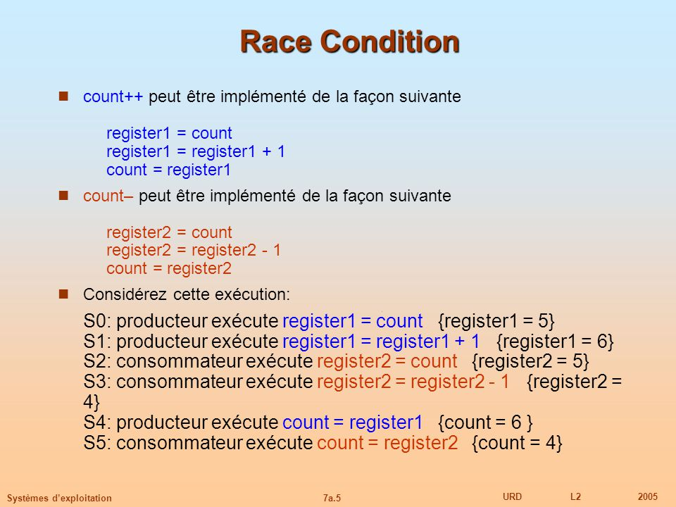 Race Condition count++ peut être implémenté de la façon suivante register1 = count register1 = register1 + 1 count = register1.