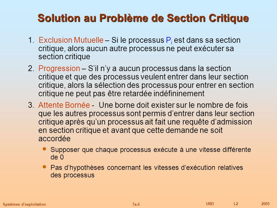 Solution au Problème de Section Critique