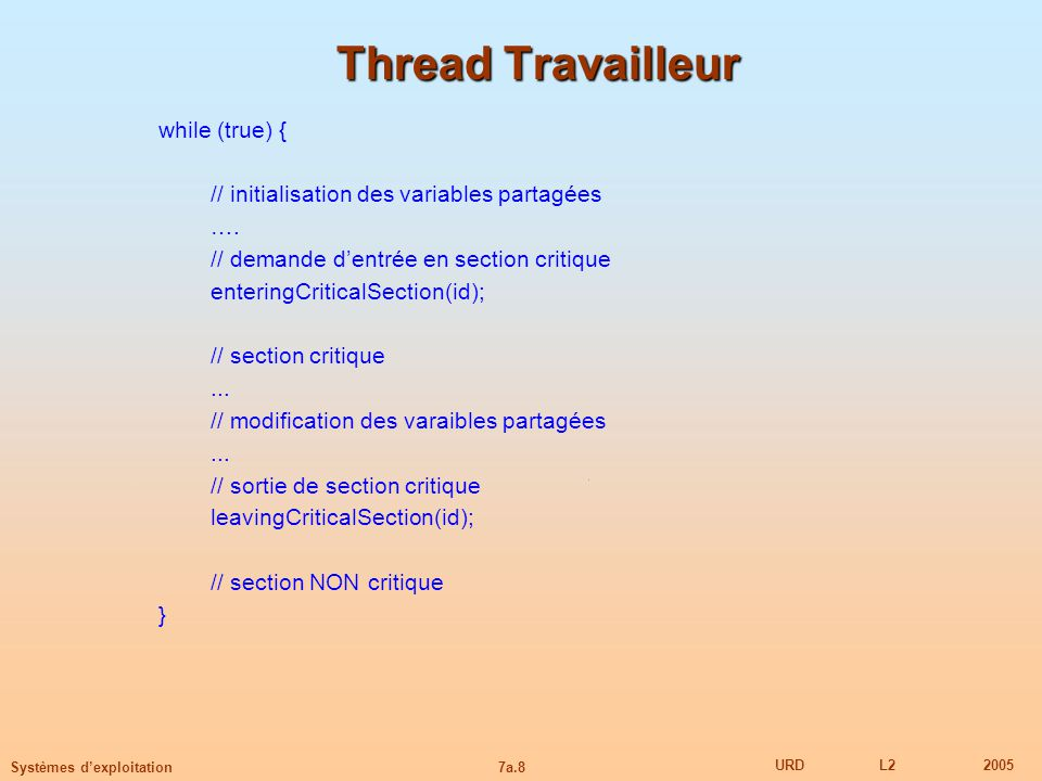 Thread Travailleur while (true) {