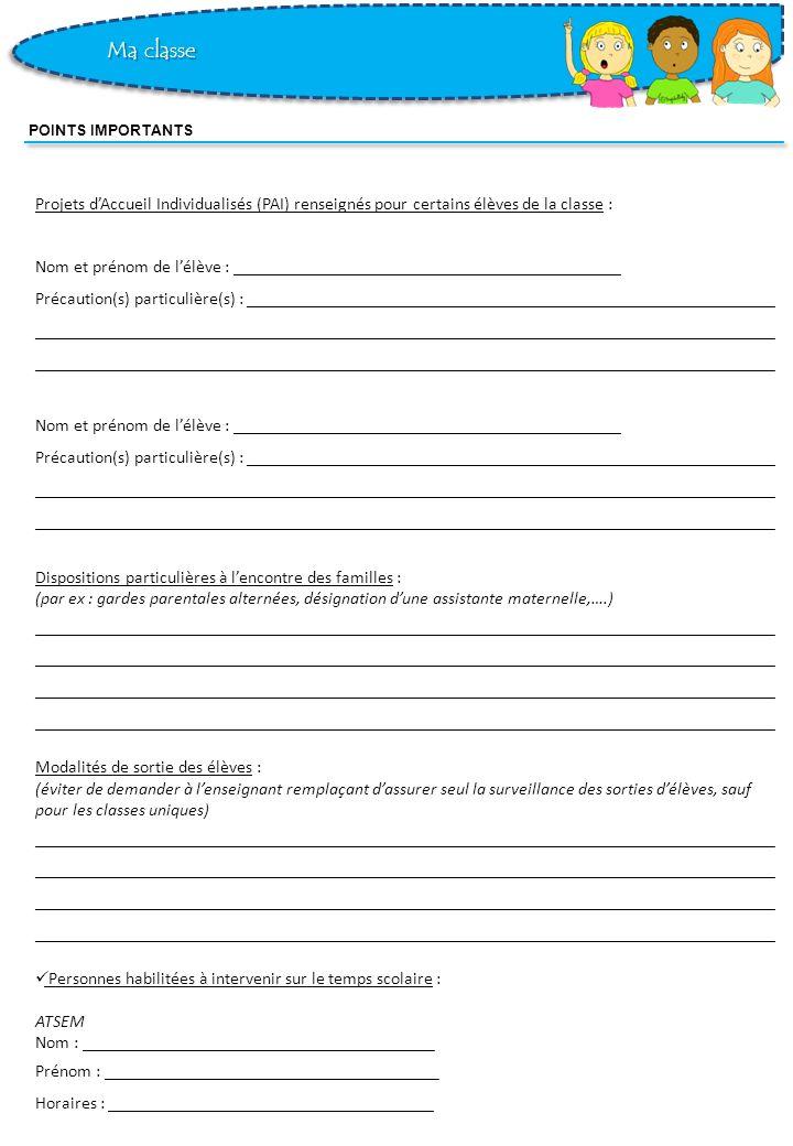 Ma classe POINTS IMPORTANTS. Projets d'Accueil Individualisés (PAI) renseignés pour certains élèves de la classe :