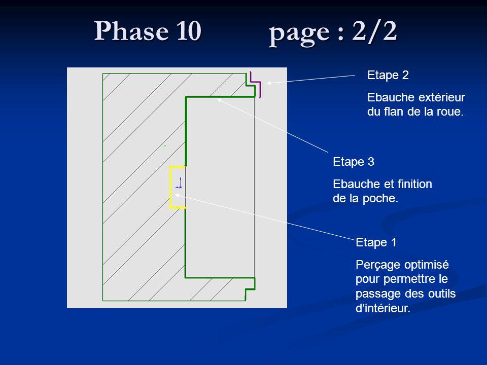 Phase 10 page : 2/2 Etape 2 Ebauche extérieur du flan de la roue.