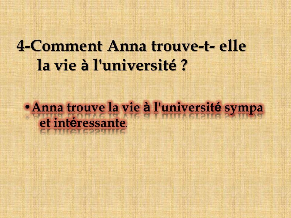 4-Comment Anna trouve-t- elle la vie à l université