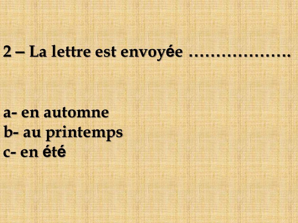2 – La lettre est envoyée ……………….