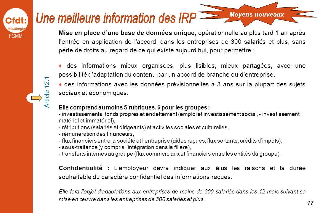 Une meilleure information des IRP