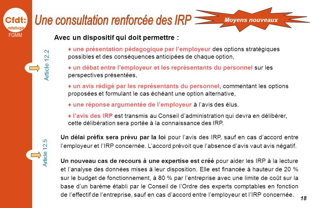 Une consultation renforcée des IRP