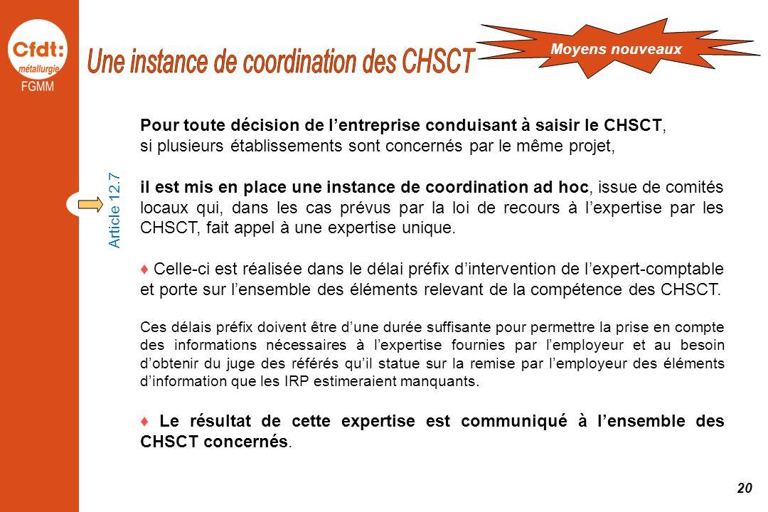 Une instance de coordination des CHSCT