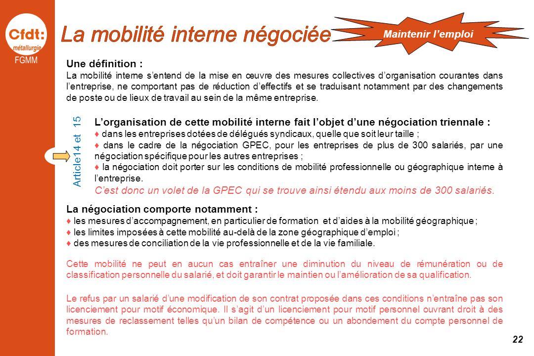 La mobilité interne négociée