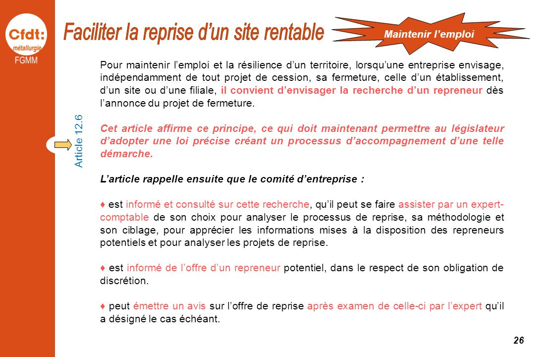 Faciliter la reprise d'un site rentable