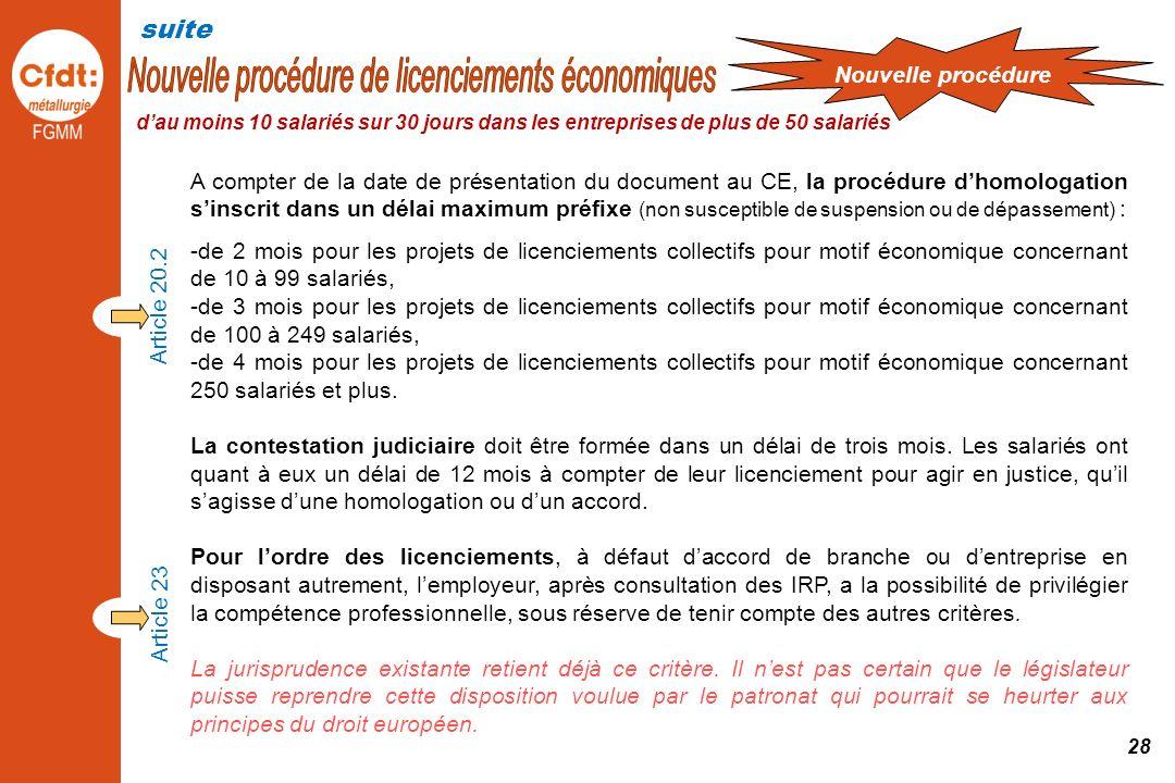 Nouvelle procédure de licenciements économiques
