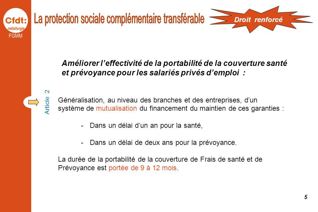 La protection sociale complémentaire transférable