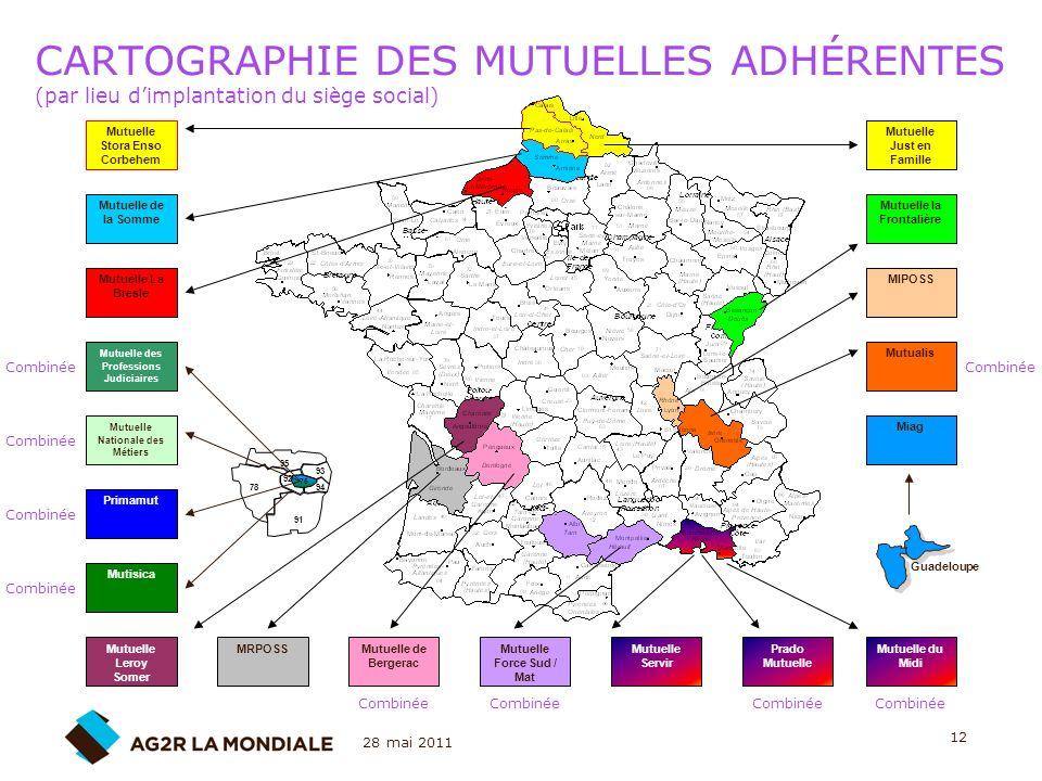 CARTOGRAPHIE DES MUTUELLES ADHÉRENTES (par lieu d'implantation du siège social)