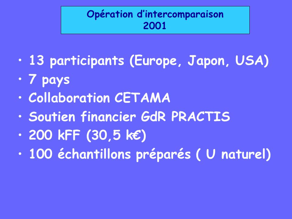 Opération d'intercomparaison 2001