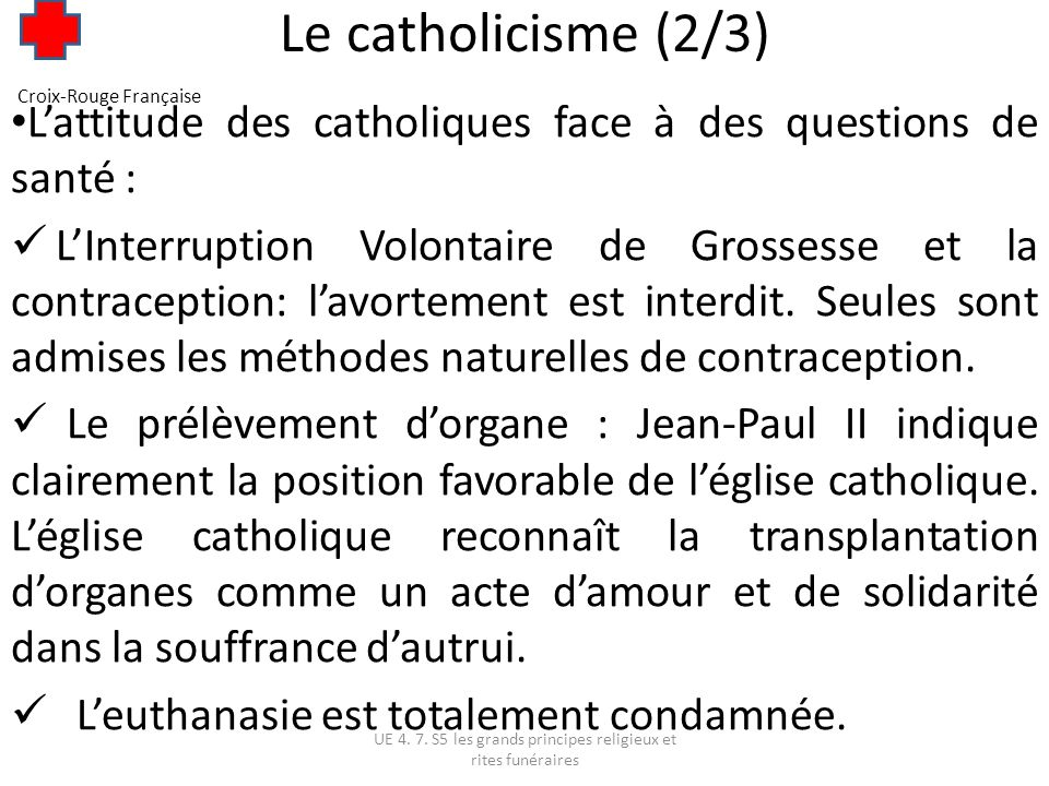 Le catholicisme (2/3) Croix-Rouge Française. L'attitude des catholiques face à des questions de santé :