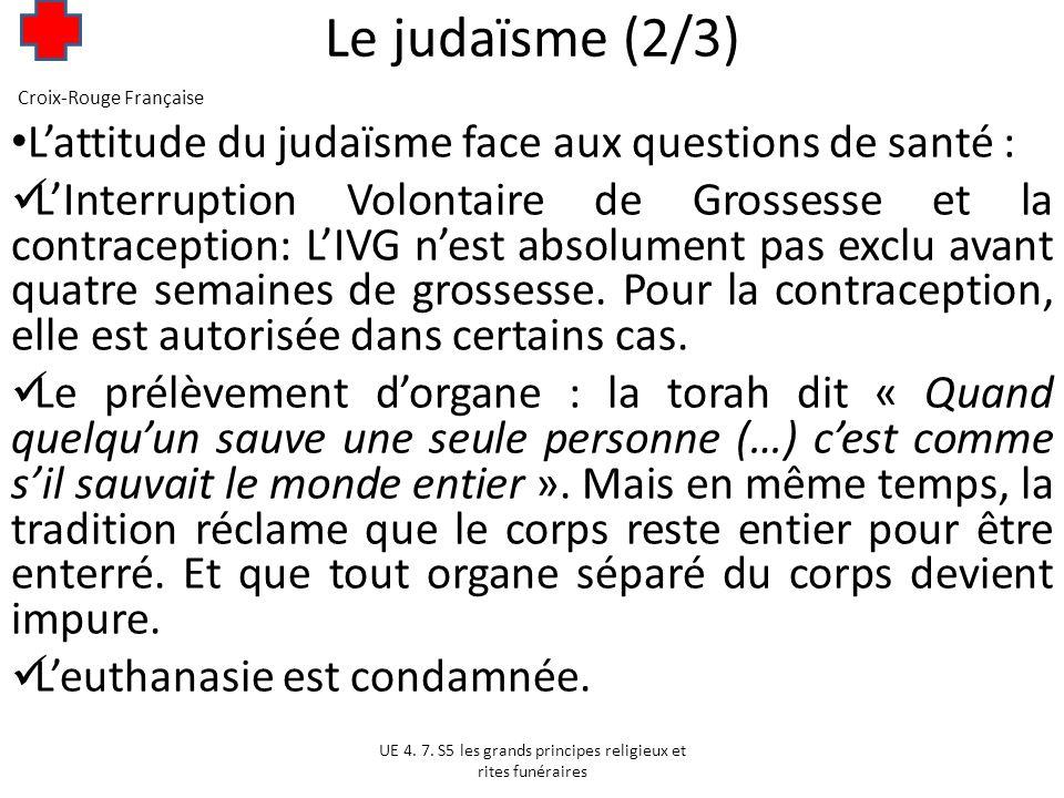 Le judaïsme (2/3) L'attitude du judaïsme face aux questions de santé :