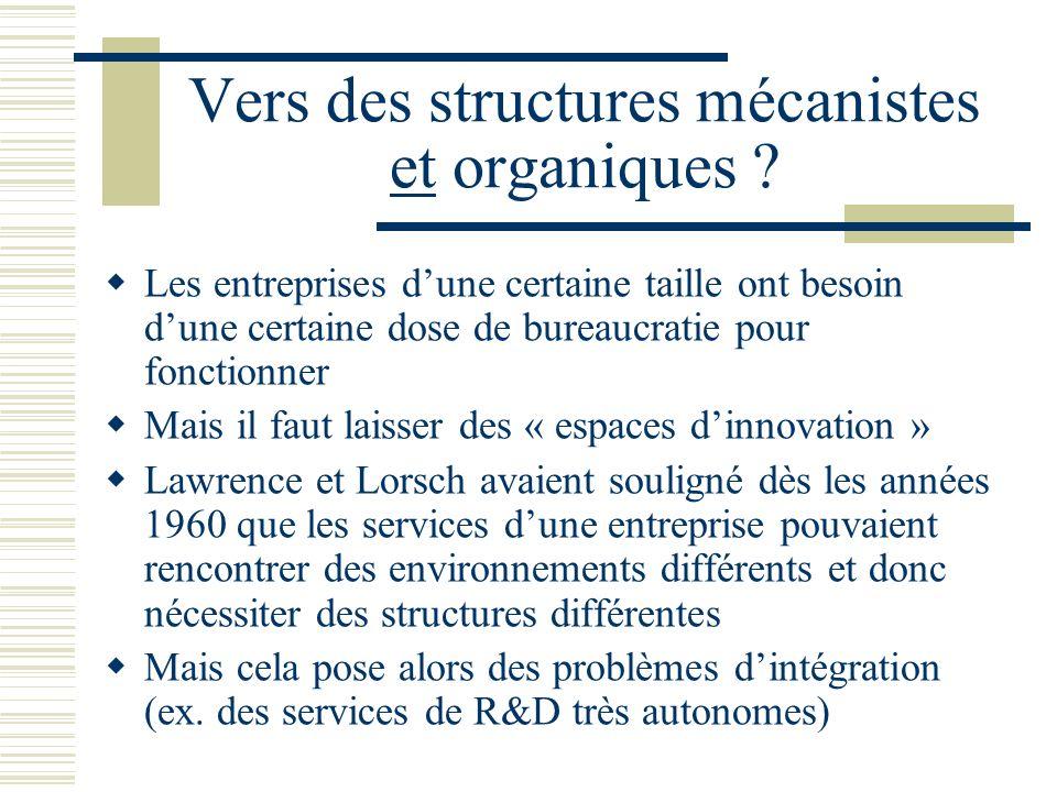 Vers des structures mécanistes et organiques