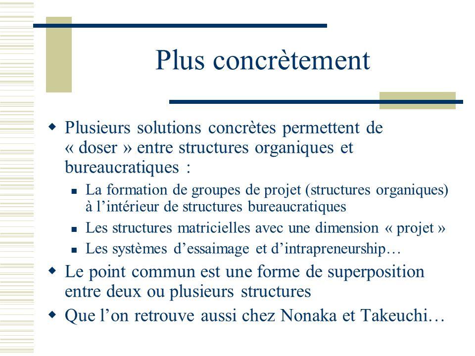 Plus concrètement Plusieurs solutions concrètes permettent de « doser » entre structures organiques et bureaucratiques :