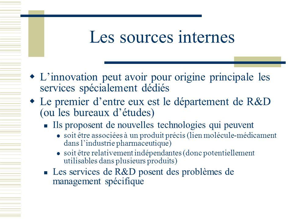 Les sources internes L'innovation peut avoir pour origine principale les services spécialement dédiés.