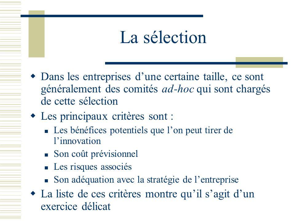 La sélection Dans les entreprises d'une certaine taille, ce sont généralement des comités ad-hoc qui sont chargés de cette sélection.