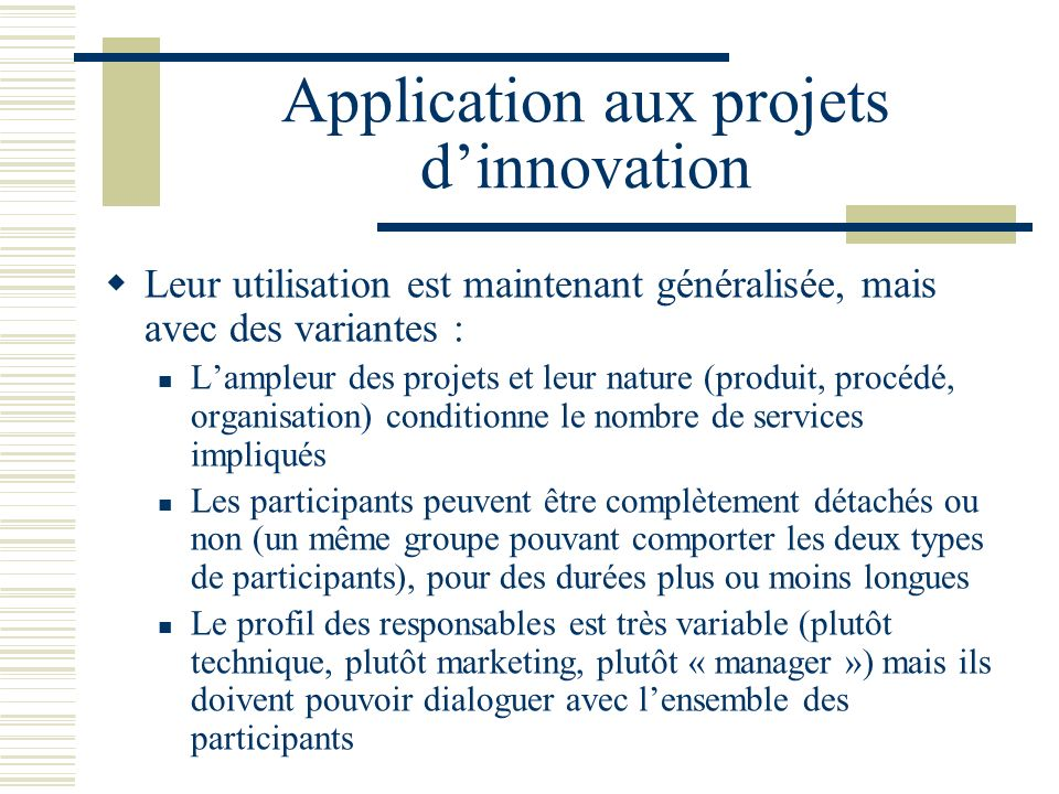 Application aux projets d'innovation