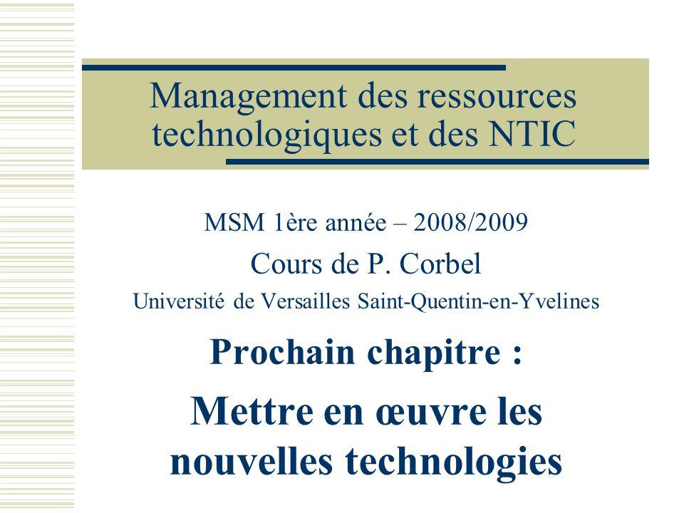 Management des ressources technologiques et des NTIC