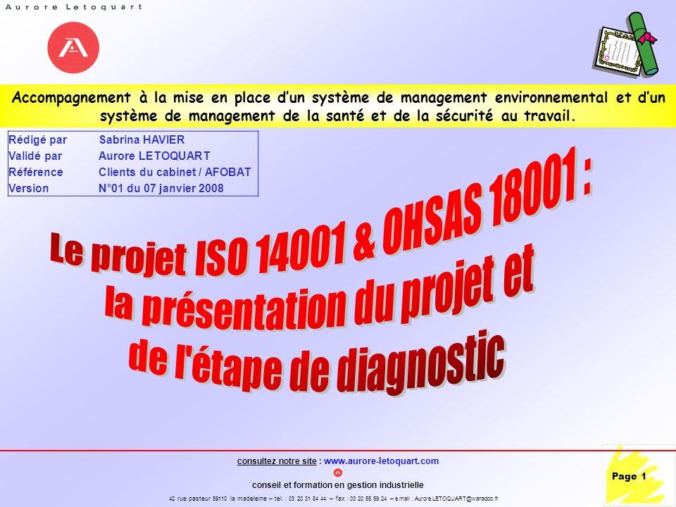 la présentation du projet et de l étape de diagnostic