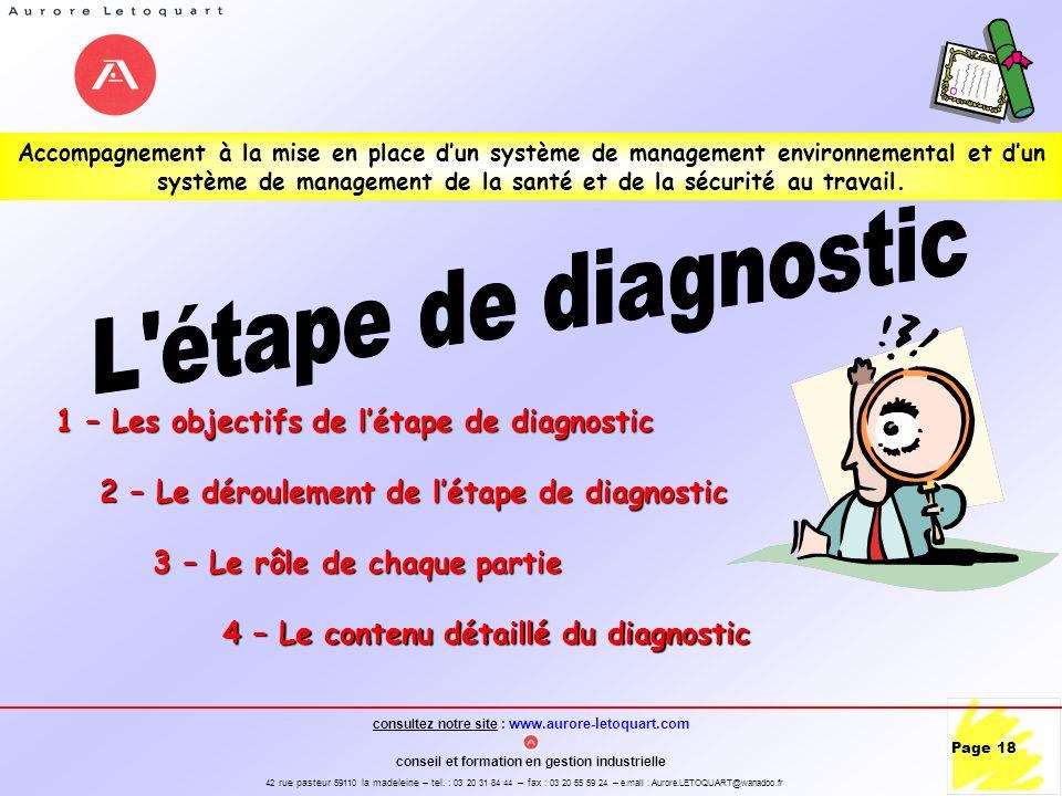 L étape de diagnostic 1 – Les objectifs de l'étape de diagnostic