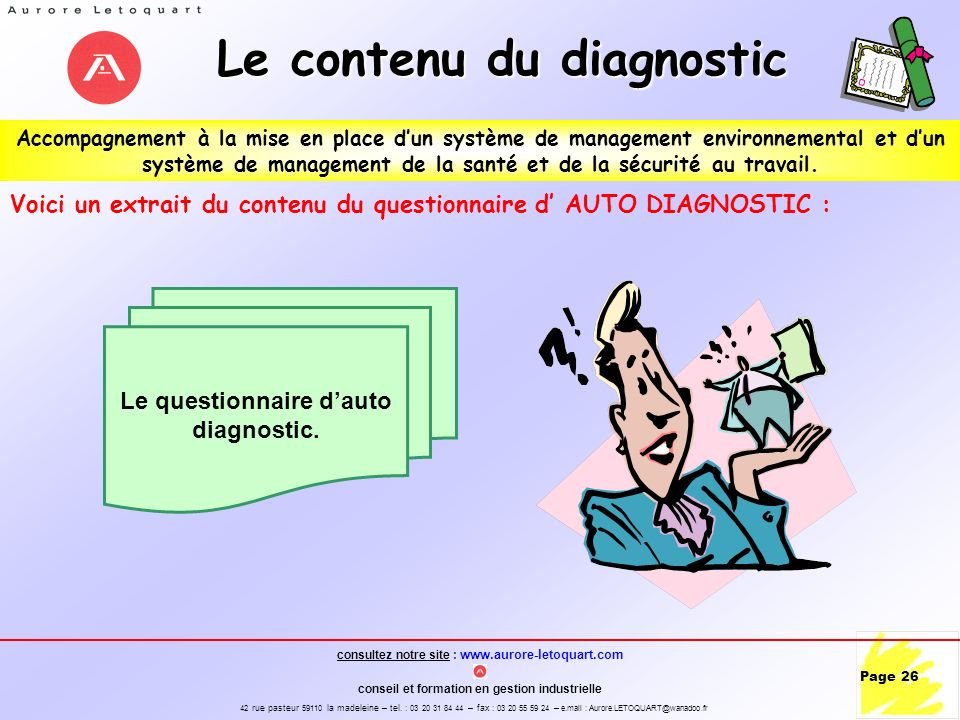 Le contenu du diagnostic