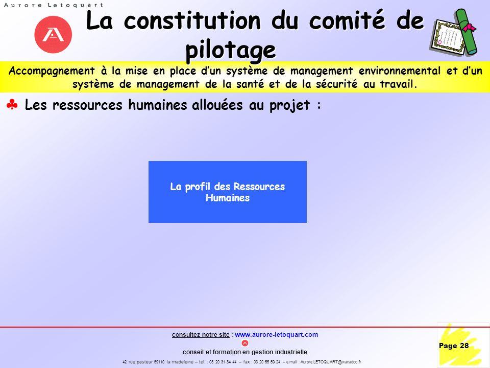 La constitution du comité de pilotage