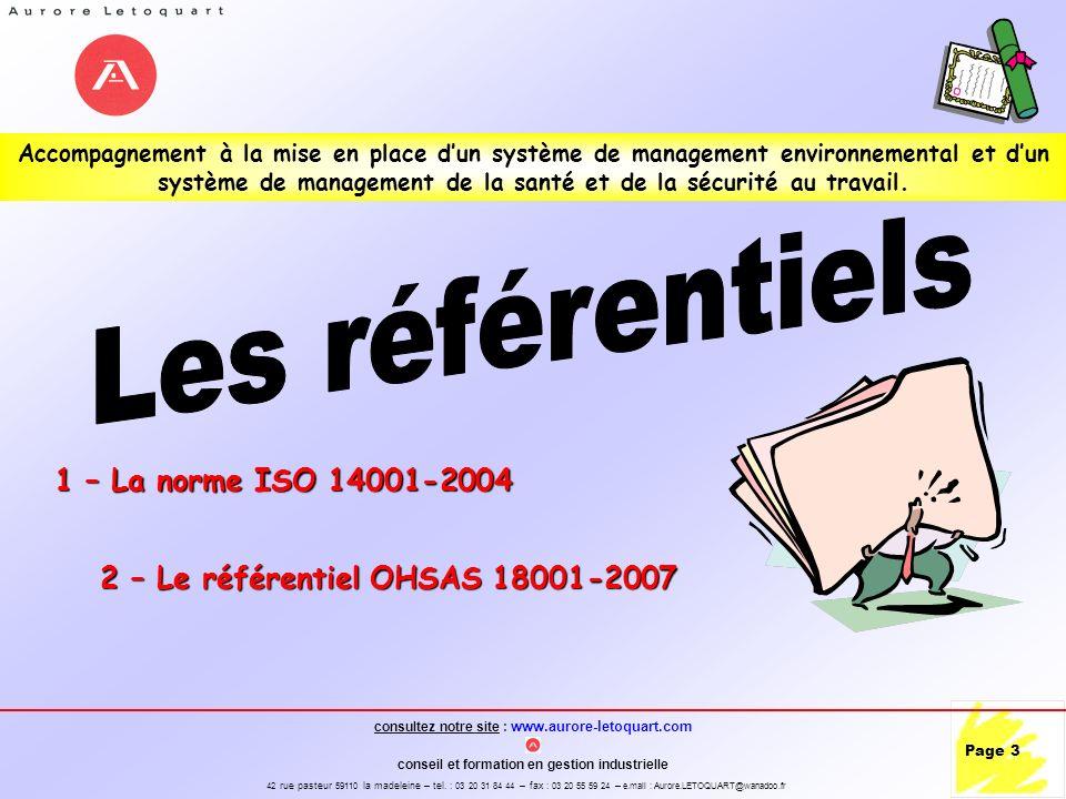 Les référentiels 1 – La norme ISO 14001-2004
