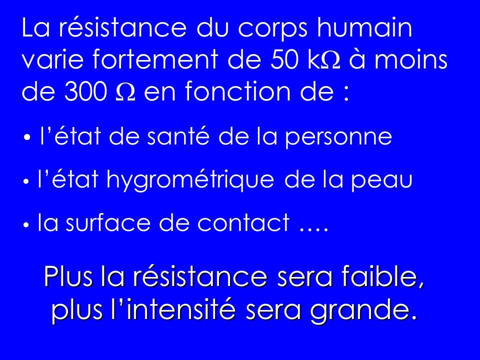 Plus la résistance sera faible, plus l'intensité sera grande.