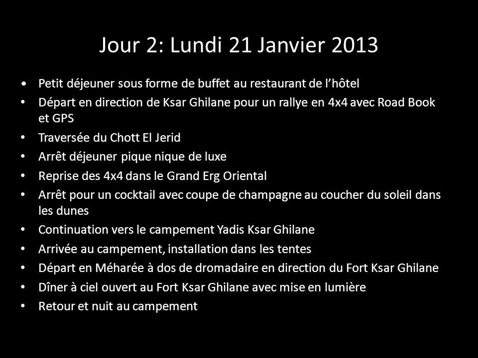 Jour 2: Lundi 21 Janvier 2013 Petit déjeuner sous forme de buffet au restaurant de l'hôtel.